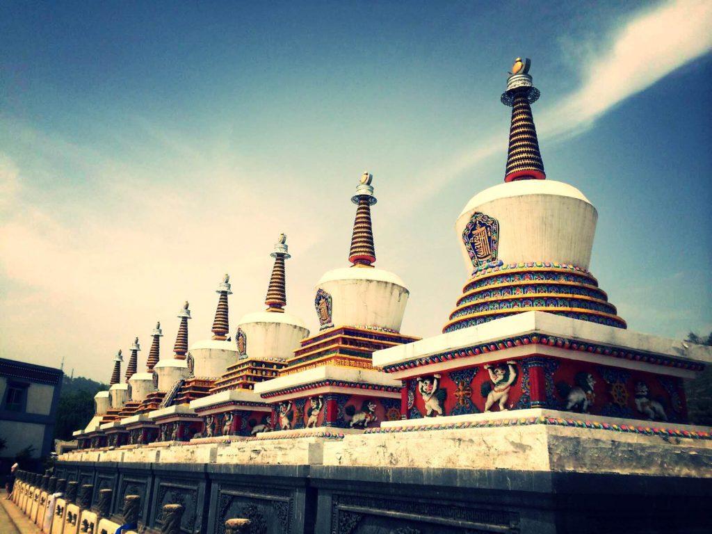 Line of stupa from Kumbum Monastery