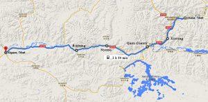 A map displaying rail routes between Lhasa-Shigatse-Lhasa